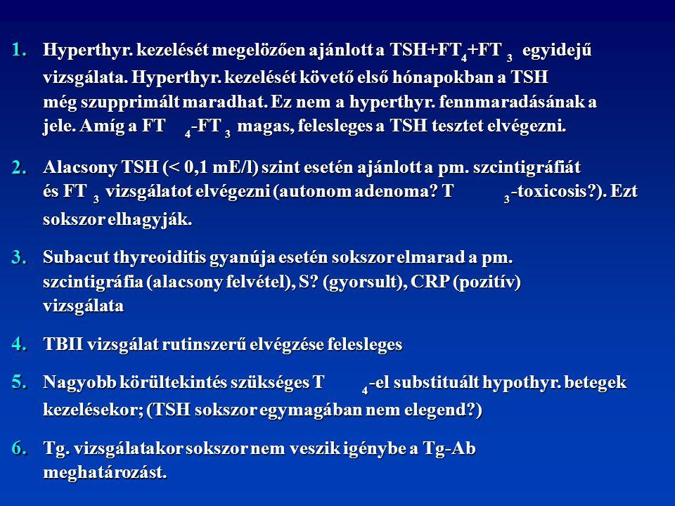 1. 2. 3. 4. 5. 6. Hyperthyr. kezelését megelözően ajánlott a TSH+FT