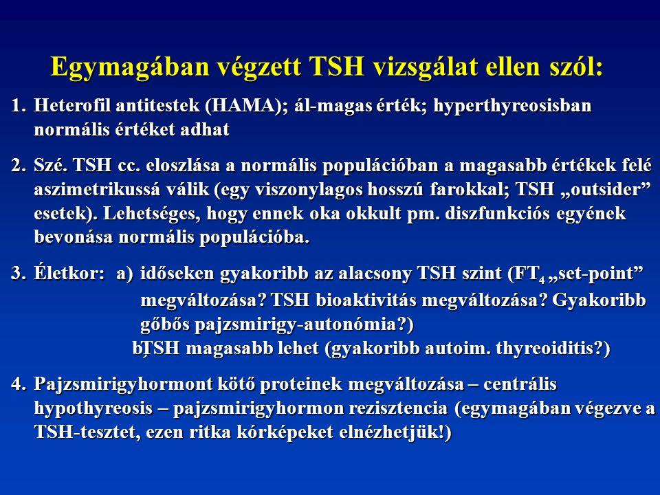 Egymagában végzett TSH vizsgálat ellen szól: