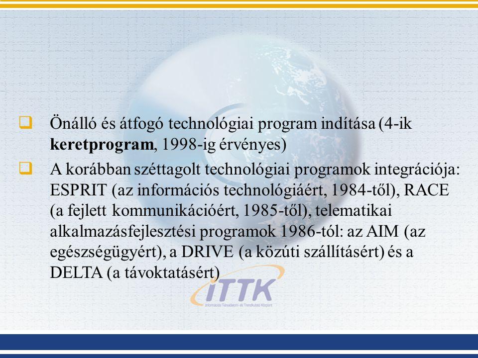 Önálló és átfogó technológiai program indítása (4-ik keretprogram, 1998-ig érvényes)