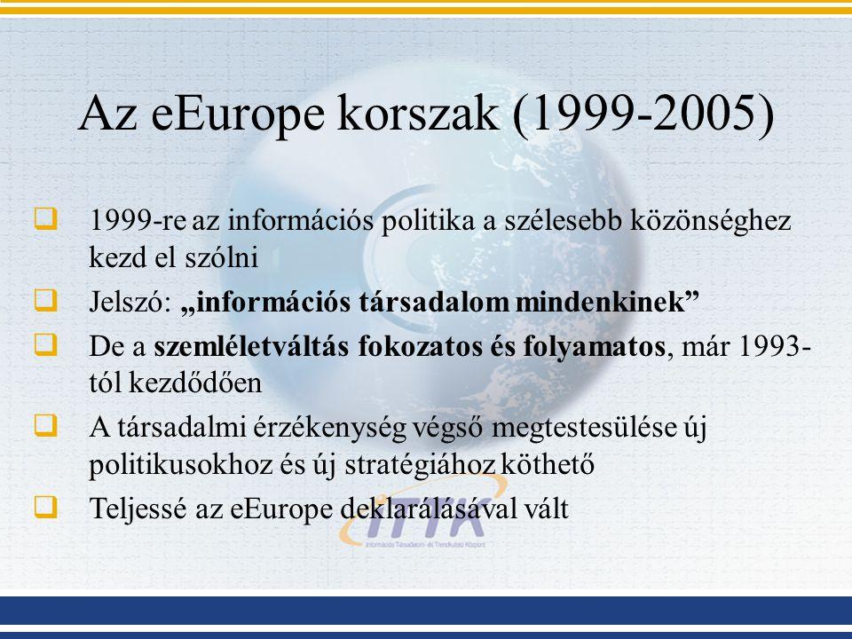 Az eEurope korszak (1999-2005) 1999-re az információs politika a szélesebb közönséghez kezd el szólni.