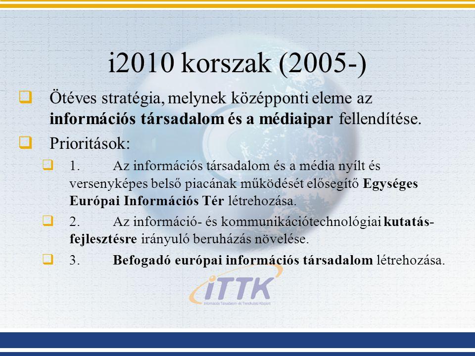 i2010 korszak (2005-) Ötéves stratégia, melynek középponti eleme az információs társadalom és a médiaipar fellendítése.