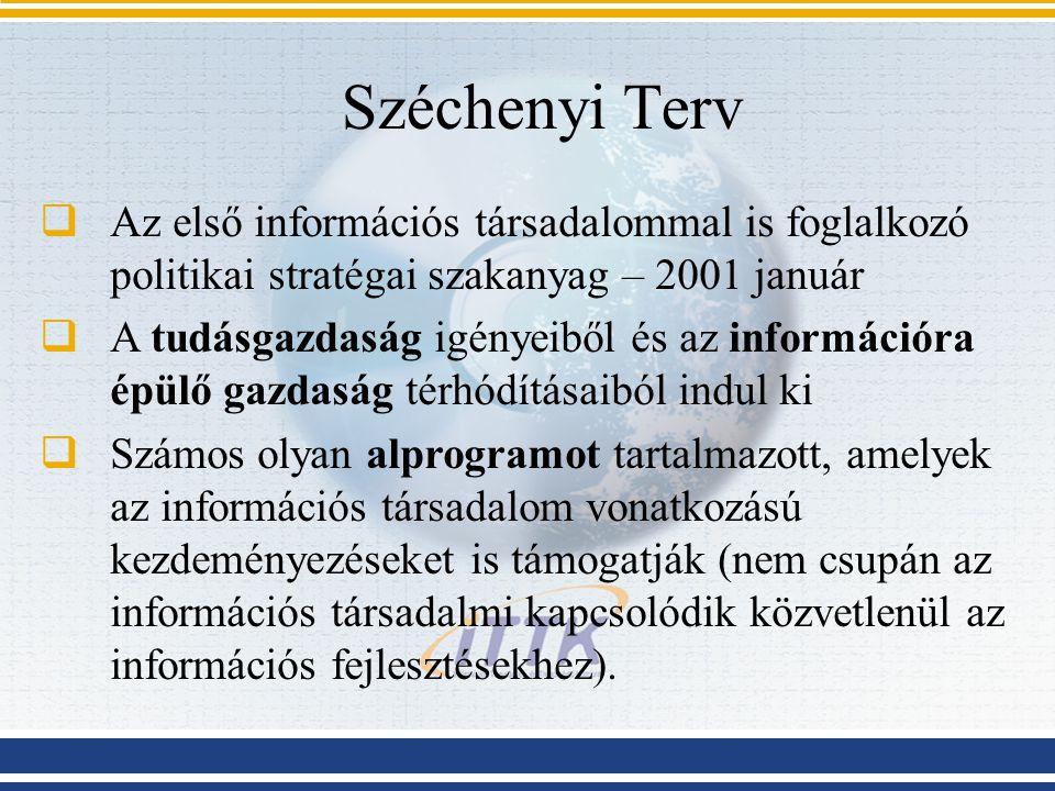 Széchenyi Terv Az első információs társadalommal is foglalkozó politikai stratégai szakanyag – 2001 január.