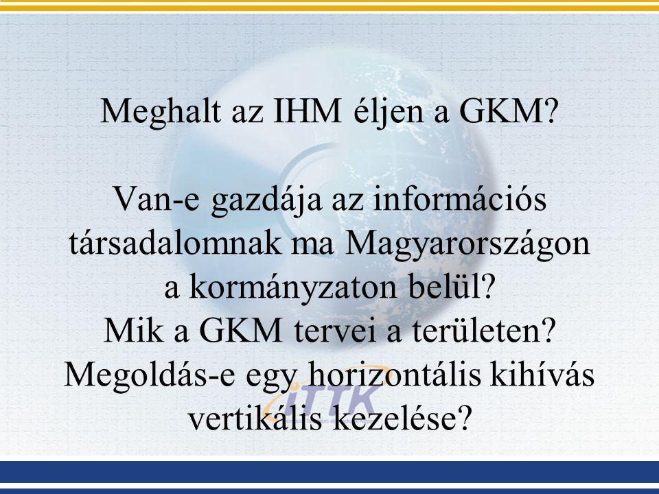Meghalt az IHM éljen a GKM