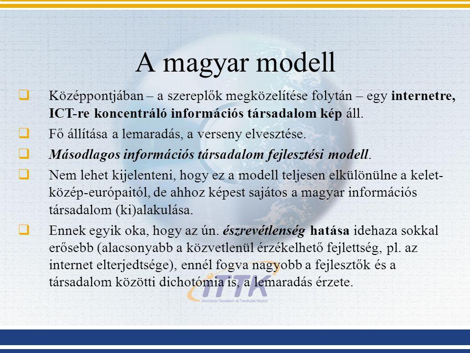 A magyar modell Középpontjában – a szereplők megközelítése folytán – egy internetre, ICT-re koncentráló információs társadalom kép áll.