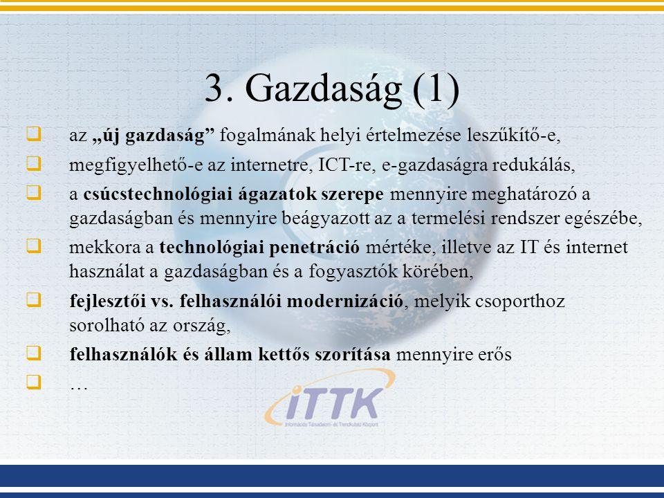 """3. Gazdaság (1) az """"új gazdaság fogalmának helyi értelmezése leszűkítő-e, megfigyelhető-e az internetre, ICT-re, e-gazdaságra redukálás,"""