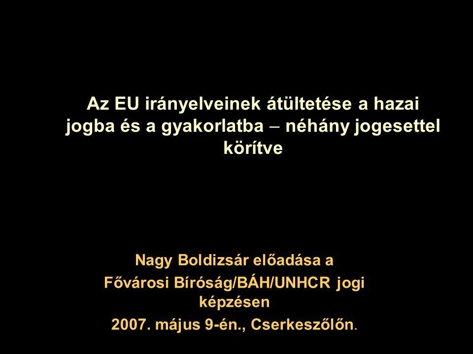 Nagy Boldizsár előadása a Fővárosi Bíróság/BÁH/UNHCR jogi képzésen
