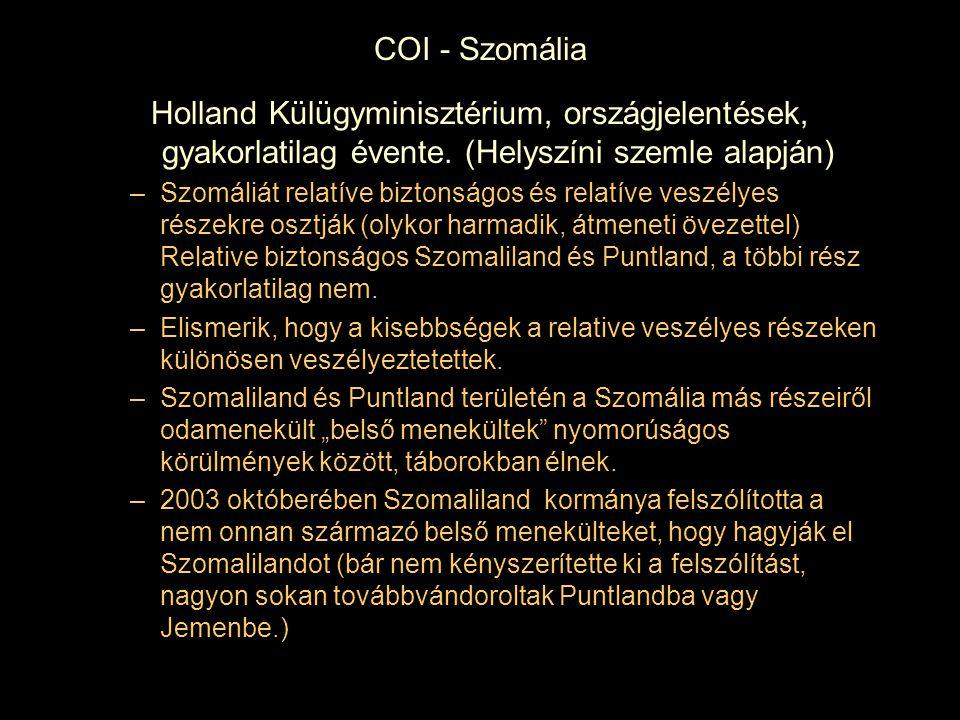 COI - Szomália Holland Külügyminisztérium, országjelentések, gyakorlatilag évente. (Helyszíni szemle alapján)