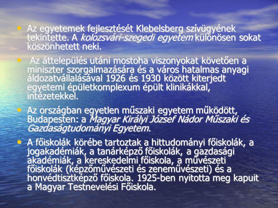 Az egyetemek fejlesztését Klebelsberg szívügyének tekintette