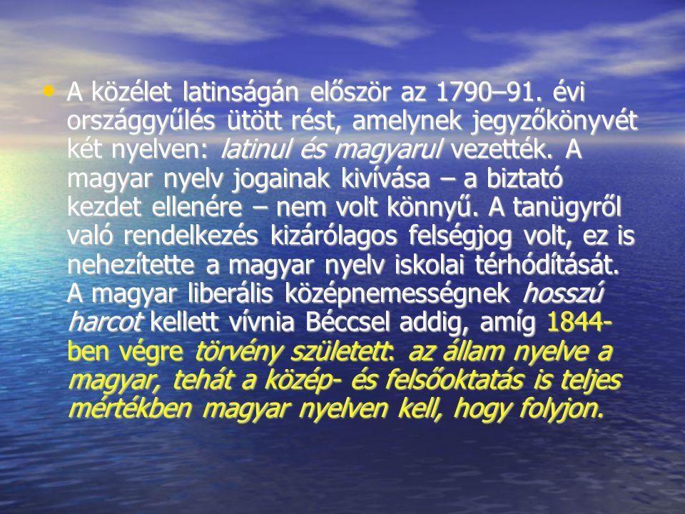 A közélet latinságán először az 1790–91