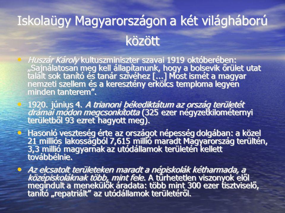 Iskolaügy Magyarországon a két világháború között