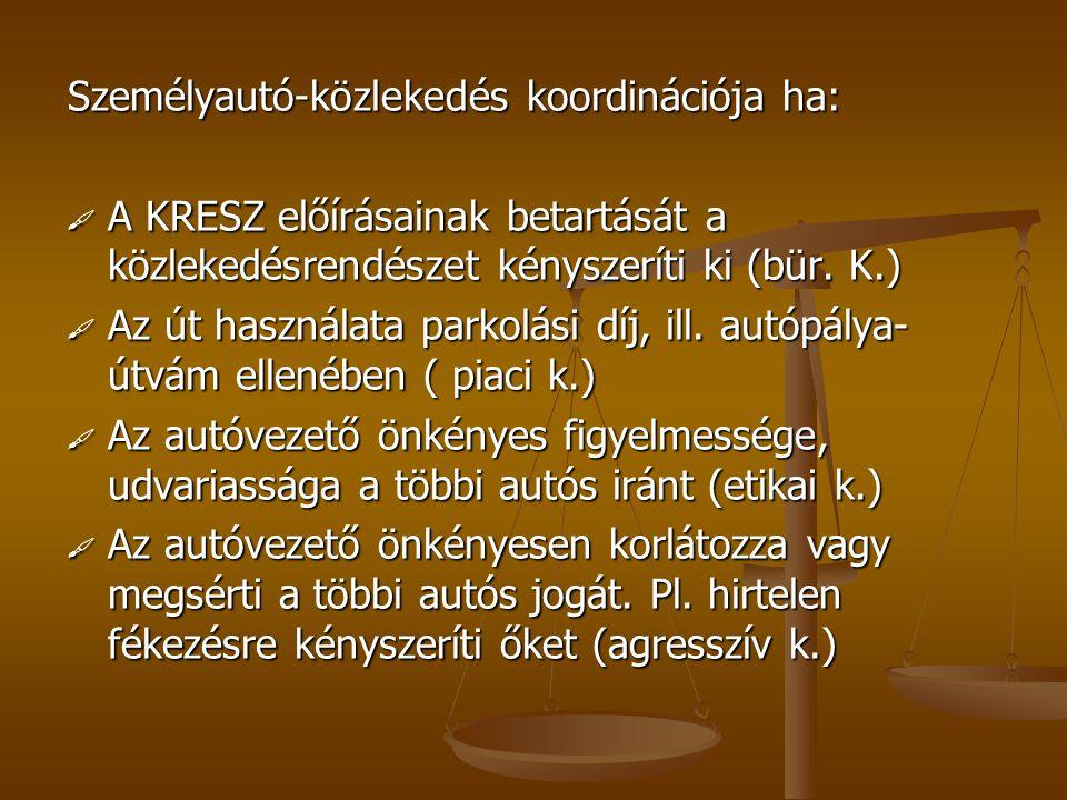 Személyautó-közlekedés koordinációja ha: