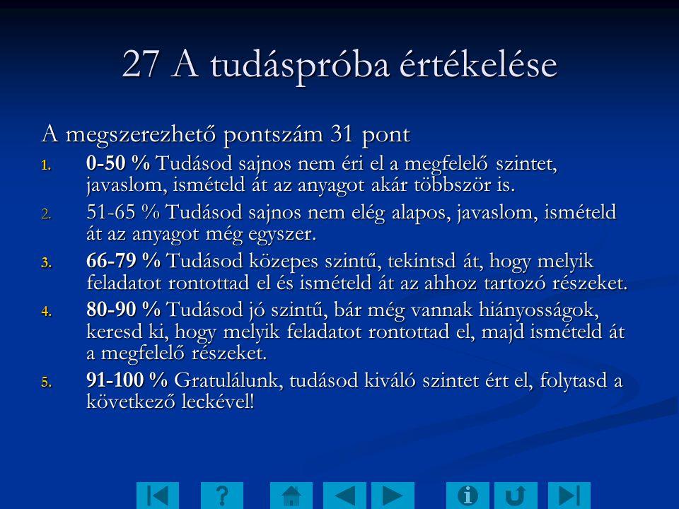 27 A tudáspróba értékelése