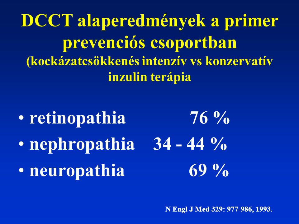 DCCT alaperedmények a primer prevenciós csoportban (kockázatcsökkenés intenzív vs konzervatív inzulin terápia