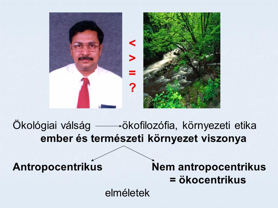 < > = Ökológiai válság ökofilozófia, környezeti etika
