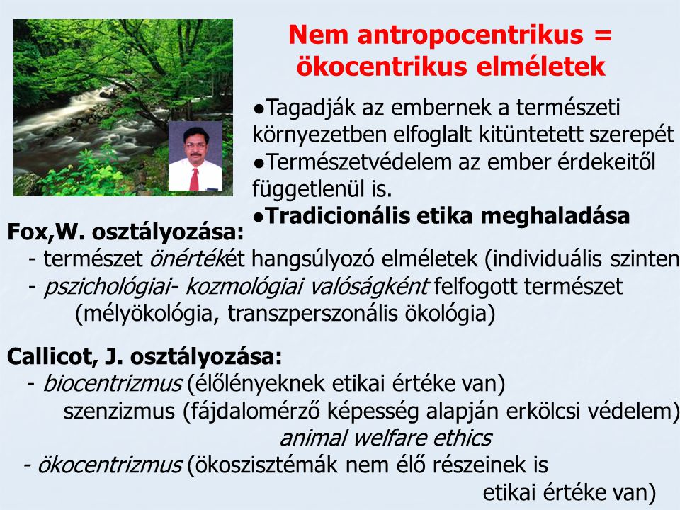Nem antropocentrikus = ökocentrikus elméletek
