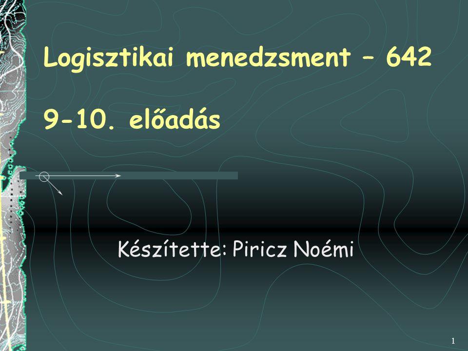Logisztikai menedzsment – 642 9-10. előadás