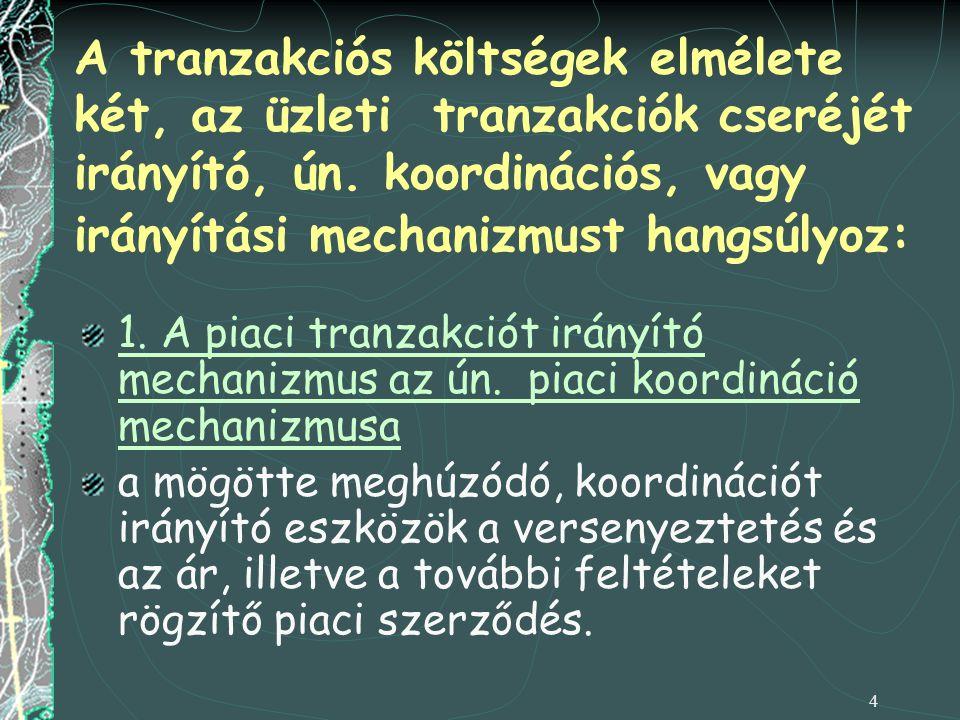 A tranzakciós költségek elmélete két, az üzleti tranzakciók cseréjét irányító, ún. koordinációs, vagy irányítási mechanizmust hangsúlyoz: