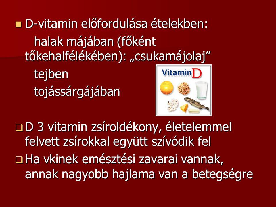 D-vitamin előfordulása ételekben: