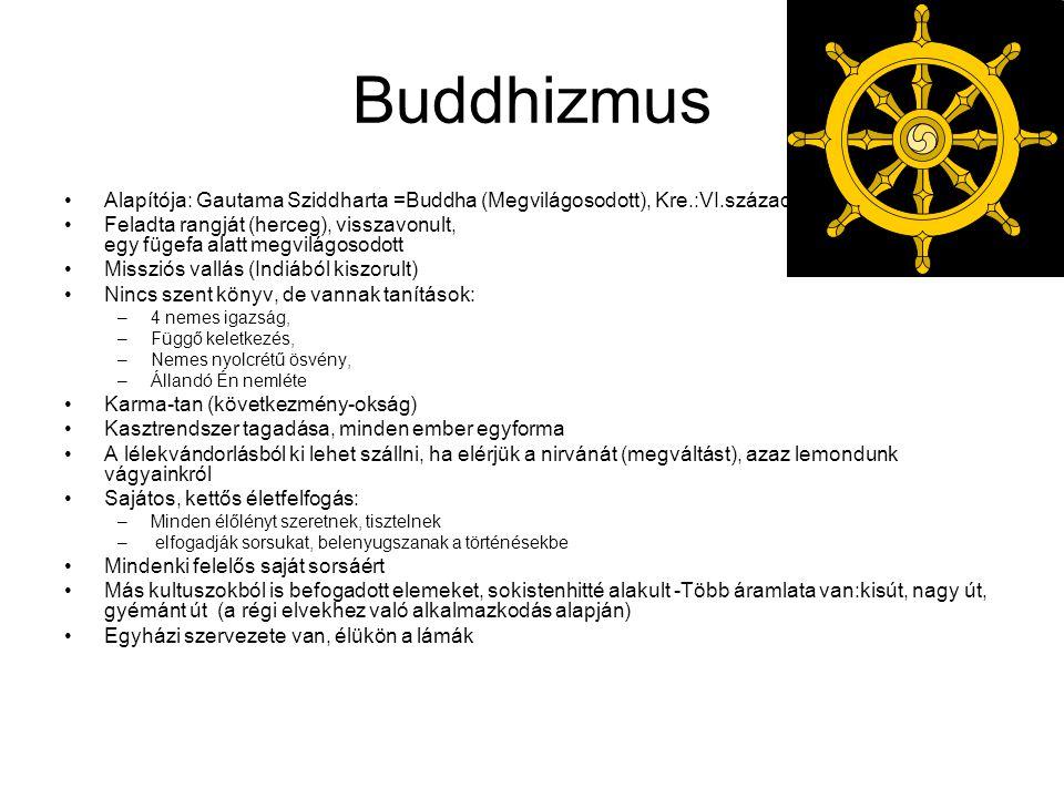 Buddhizmus Alapítója: Gautama Sziddharta =Buddha (Megvilágosodott), Kre.:VI.században.