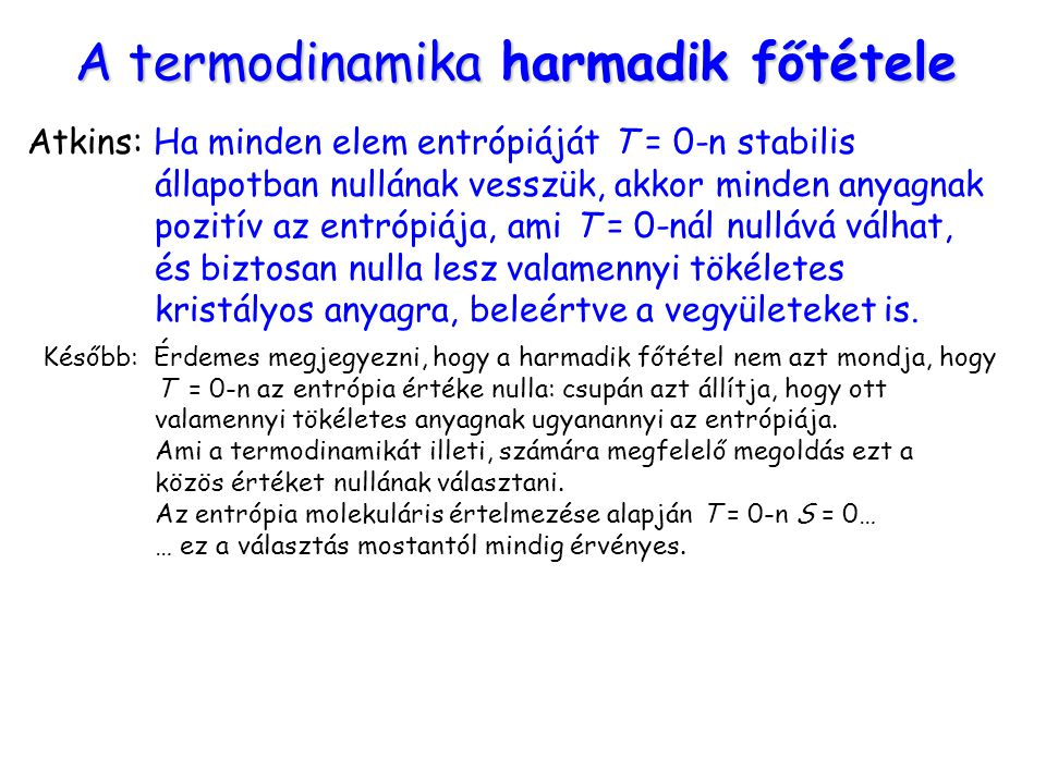 A termodinamika harmadik főtétele