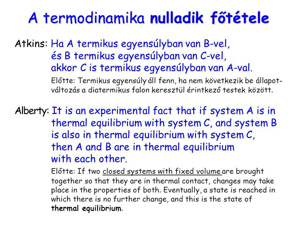 A termodinamika nulladik főtétele