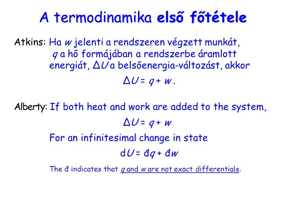 A termodinamika első főtétele