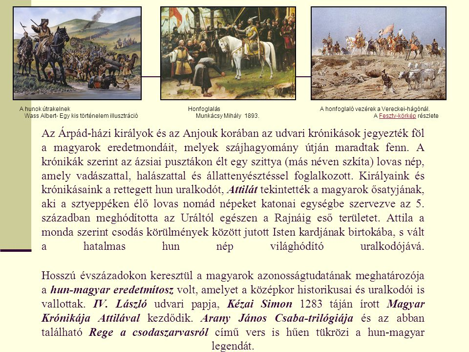 A hunok útrakelnek Wass Albert- Egy kis történelem illusztráció. Honfoglalás. Munkácsy Mihály 1893.