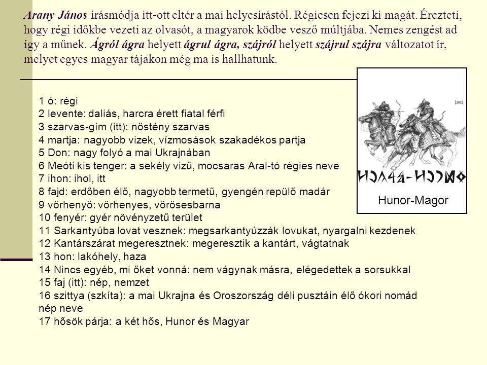Arany János írásmódja itt-ott eltér a mai helyesírástól