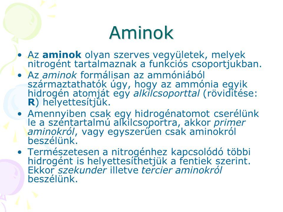 Aminok Az aminok olyan szerves vegyületek, melyek nitrogént tartalmaznak a funkciós csoportjukban.