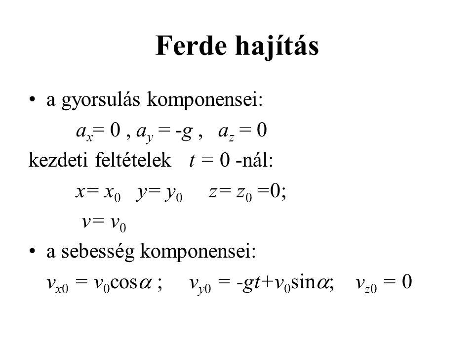 Ferde hajítás a gyorsulás komponensei: ax= 0 , ay = -g , az = 0