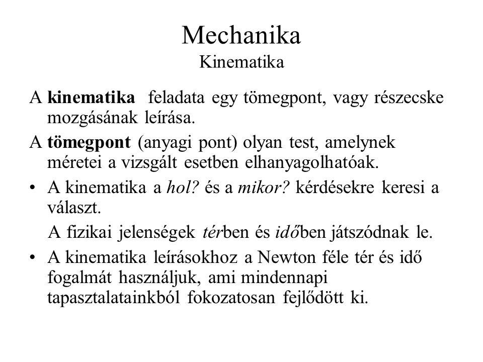 Mechanika Kinematika A kinematika feladata egy tömegpont, vagy részecske mozgásának leírása.