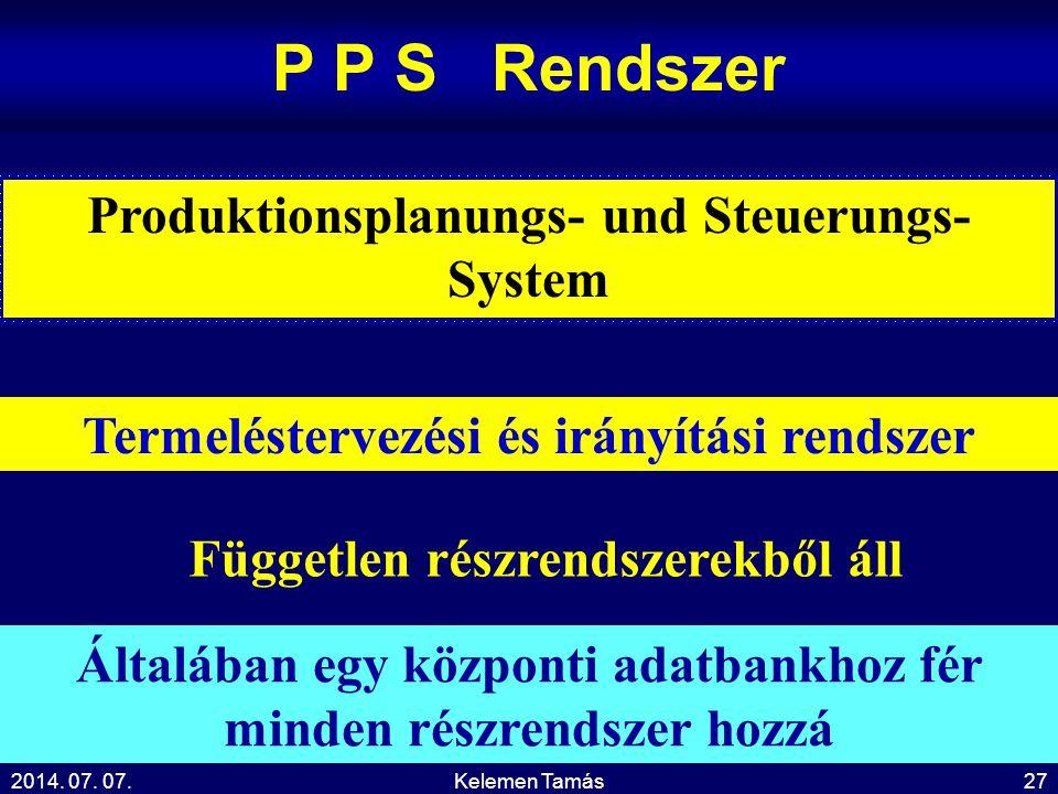 P P S Rendszer Produktionsplanungs- und Steuerungs-System