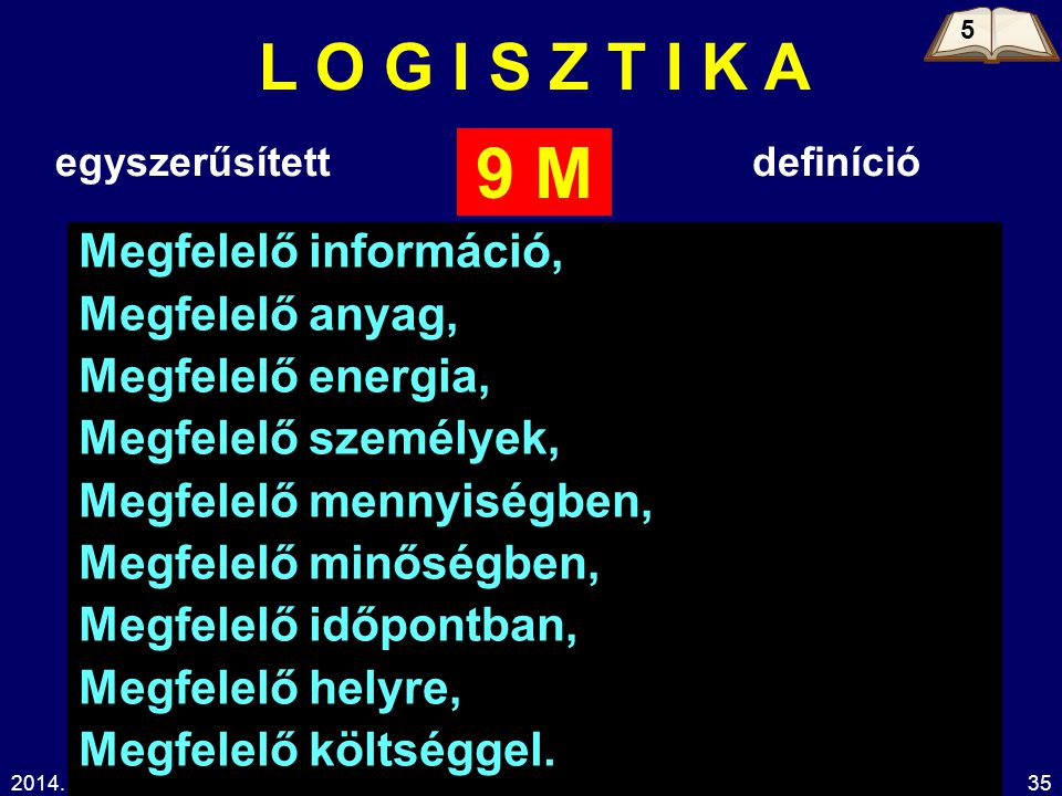 9 M L O G I S Z T I K A Megfelelő információ, Megfelelő anyag,