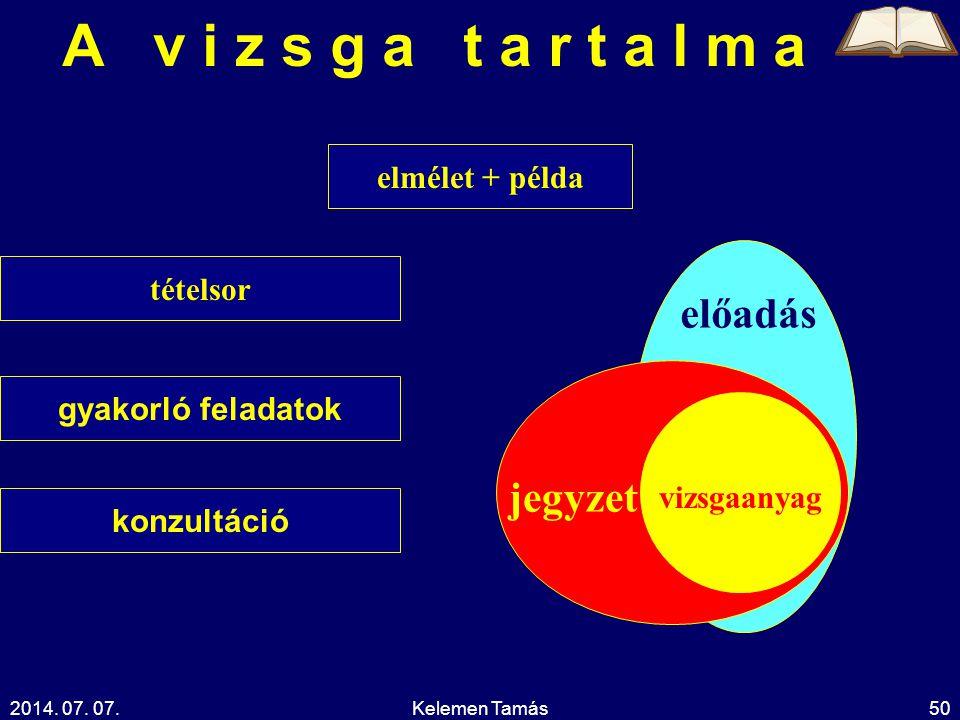A v i z s g a t a r t a l m a előadás jegyzet elmélet + példa tételsor