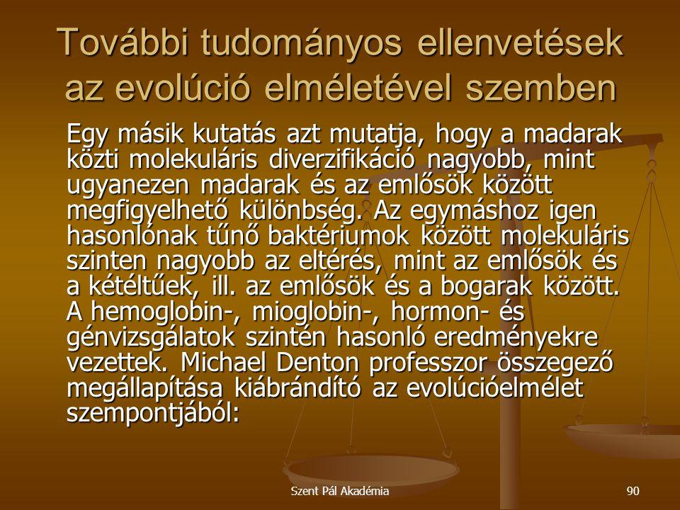 További tudományos ellenvetések az evolúció elméletével szemben