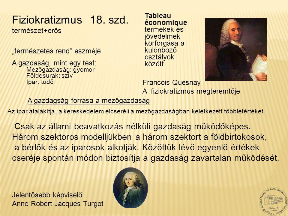Fiziokratizmus 18. szd. természet+erős. Tableau économique termékek és jövedelmek körforgása a különböző osztályok között.