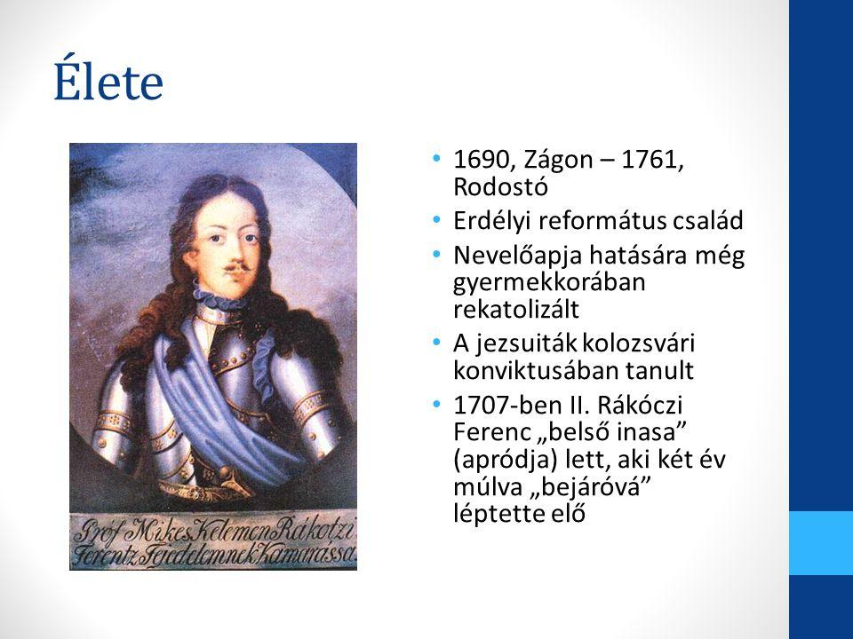 Élete 1690, Zágon – 1761, Rodostó Erdélyi református család
