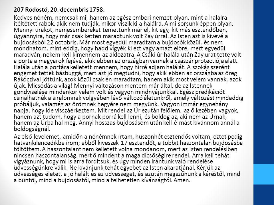 207 Rodostó, 20. decembris 1758.