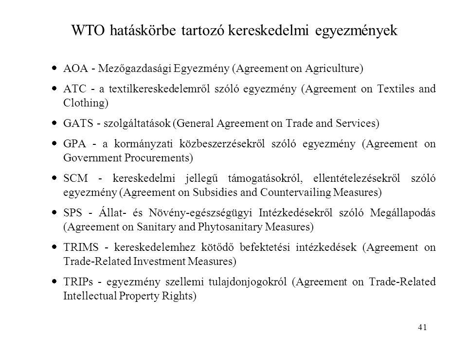 WTO hatáskörbe tartozó kereskedelmi egyezmények