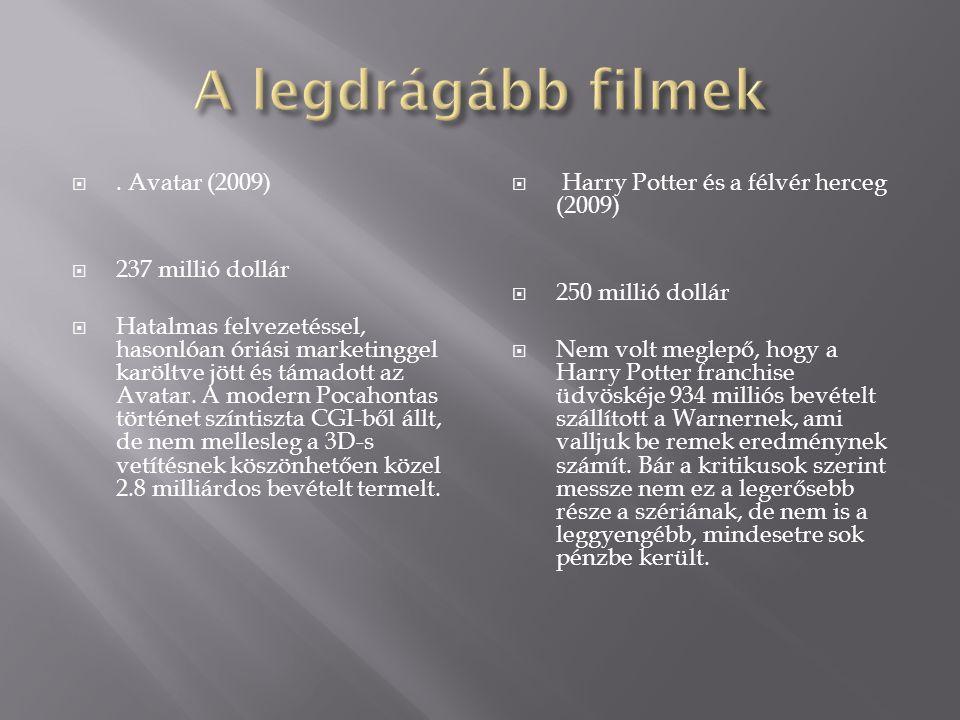 A legdrágább filmek . Avatar (2009) 237 millió dollár