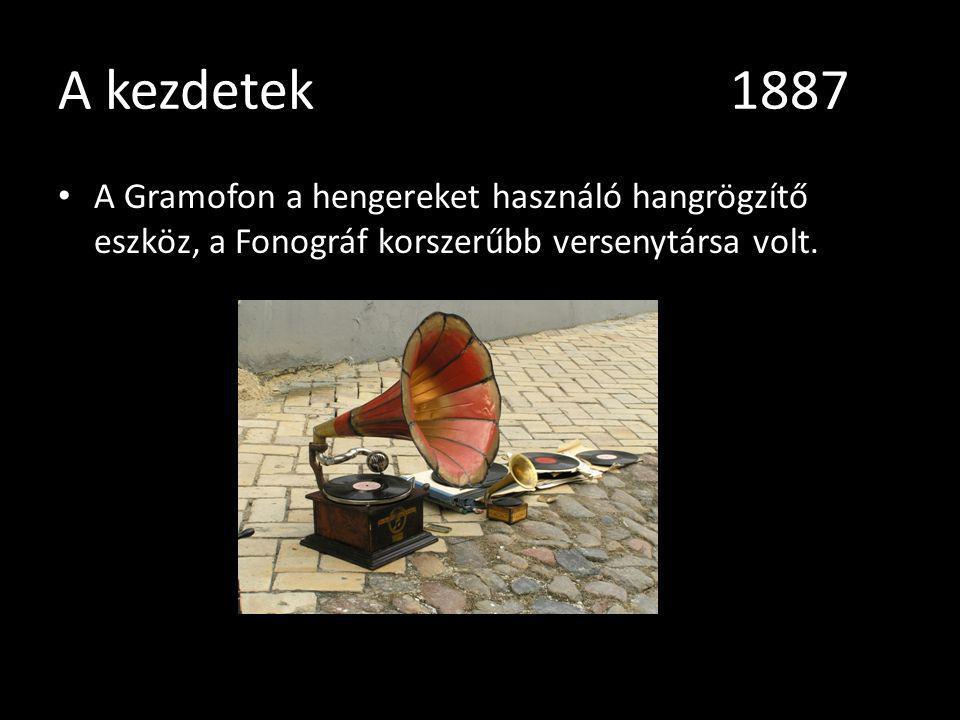 A kezdetek 1887 A Gramofon a hengereket használó hangrögzítő eszköz, a Fonográf korszerűbb versenytársa volt.
