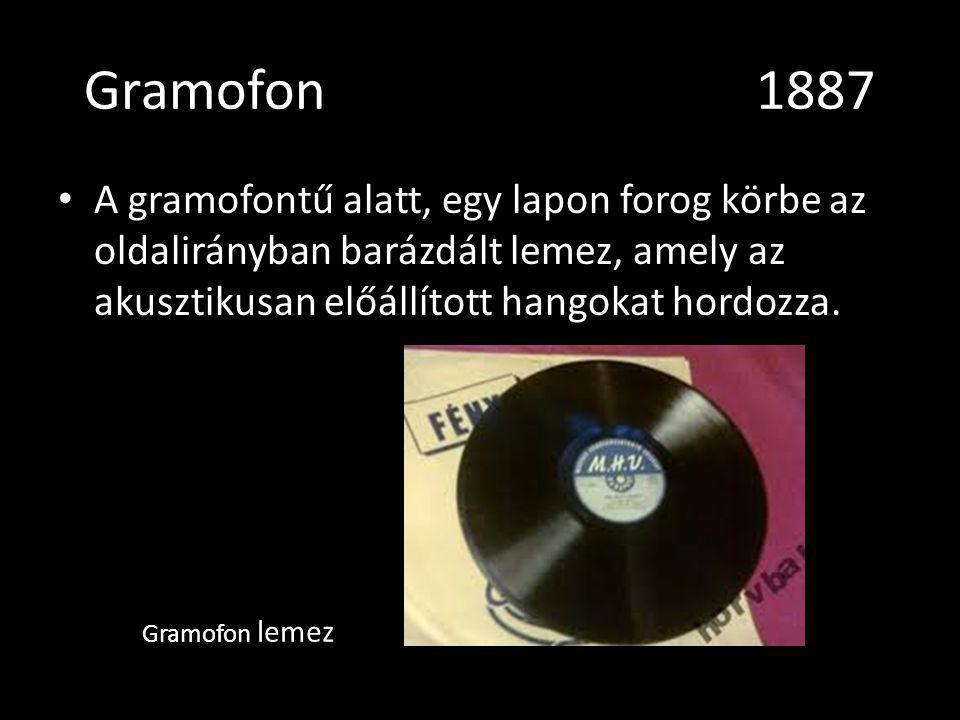 Gramofon 1887 A gramofontű alatt, egy lapon forog körbe az oldalirányban barázdált lemez, amely az akusztikusan előállított hangokat hordozza.