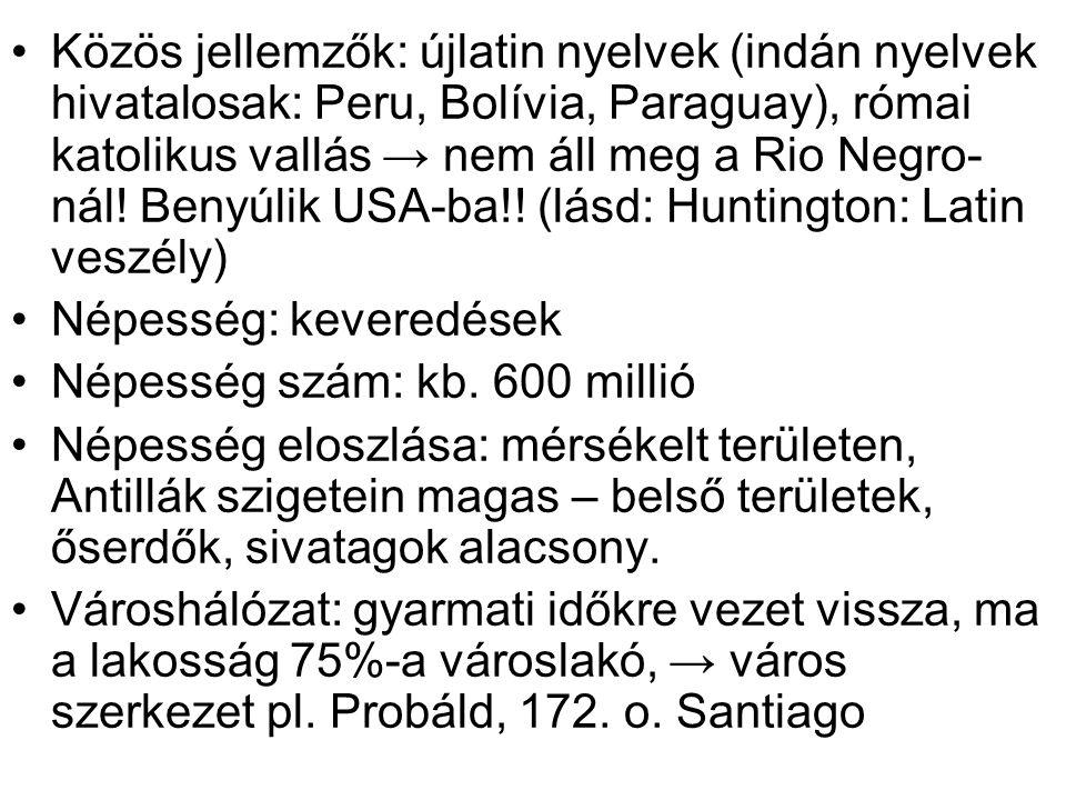 Közös jellemzők: újlatin nyelvek (indán nyelvek hivatalosak: Peru, Bolívia, Paraguay), római katolikus vallás → nem áll meg a Rio Negro-nál! Benyúlik USA-ba!! (lásd: Huntington: Latin veszély)