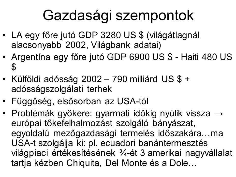 Gazdasági szempontok LA egy főre jutó GDP 3280 US $ (világátlagnál alacsonyabb 2002, Világbank adatai)