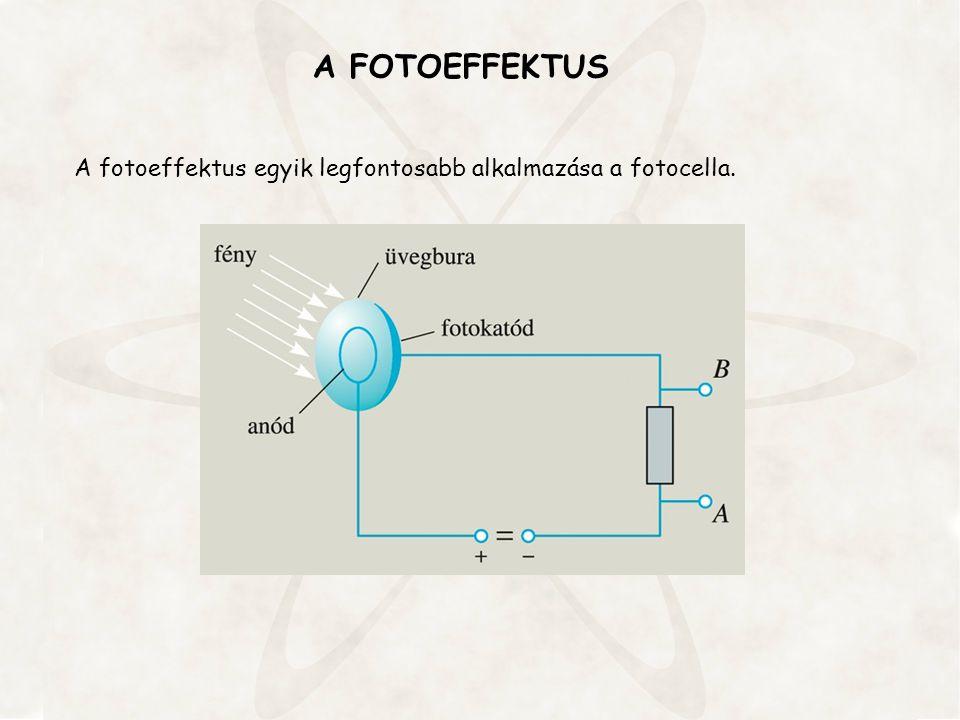 A FOTOEFFEKTUS A fotoeffektus egyik legfontosabb alkalmazása a fotocella.