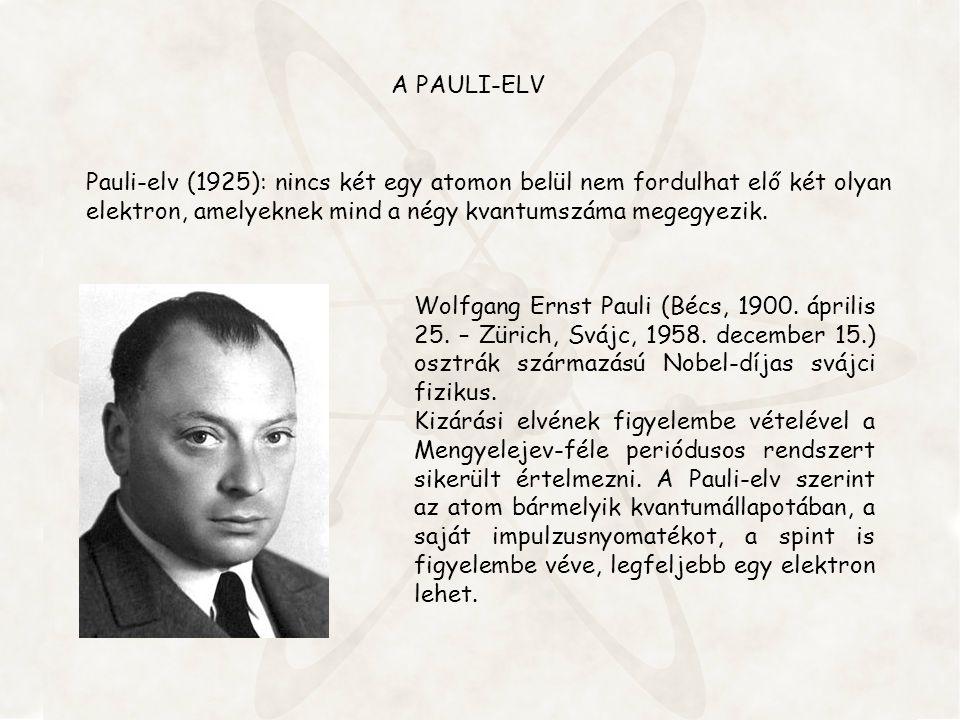 A PAULI-ELV Pauli-elv (1925): nincs két egy atomon belül nem fordulhat elő két olyan elektron, amelyeknek mind a négy kvantumszáma megegyezik.