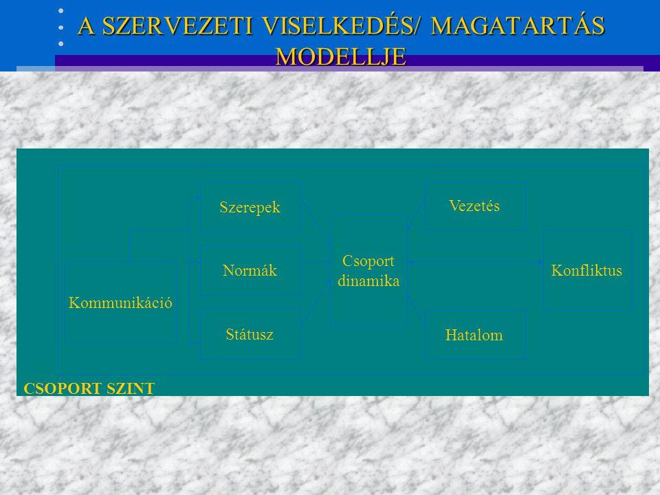 A SZERVEZETI VISELKEDÉS/ MAGATARTÁS MODELLJE