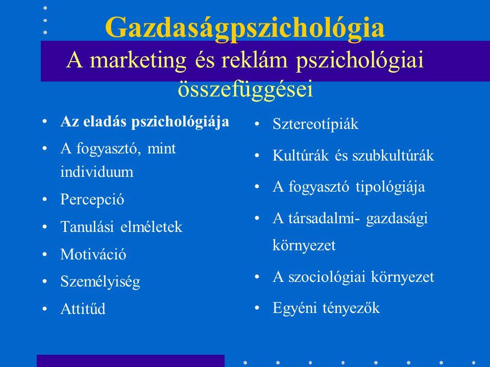 Gazdaságpszichológia A marketing és reklám pszichológiai összefüggései