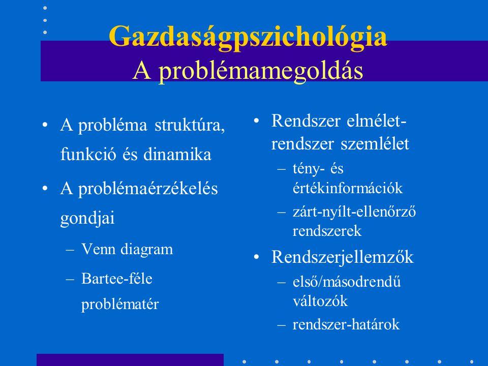 Gazdaságpszichológia A problémamegoldás
