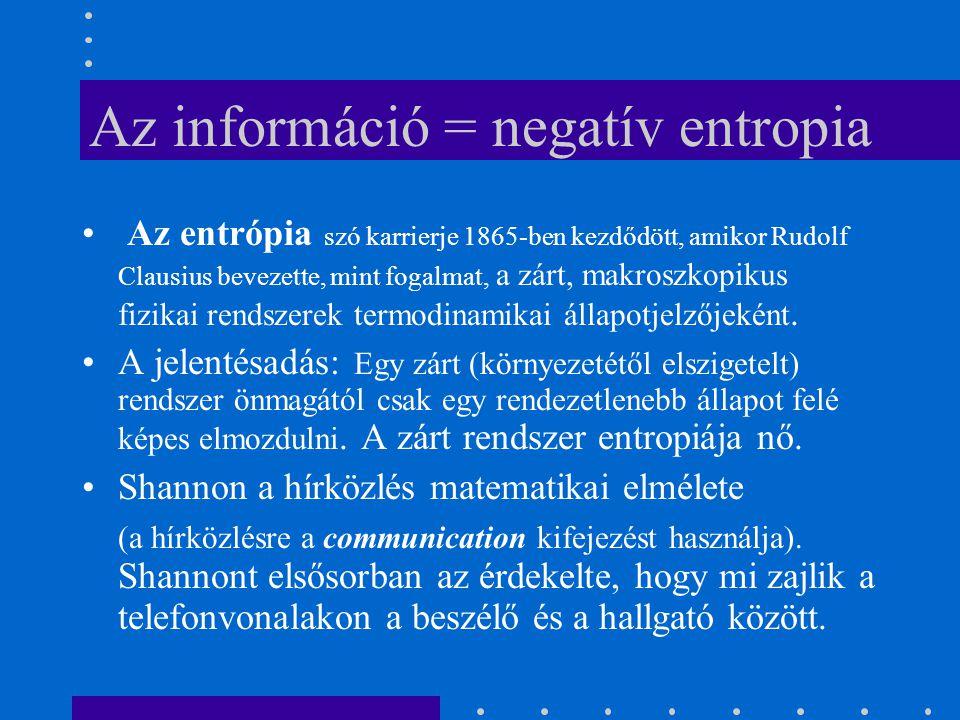 Az információ = negatív entropia